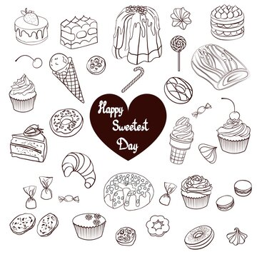 stock vector happy sweetest day hand drawn sweets isolated on white background