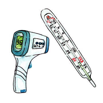 Two hand drawn watercolor thermometers