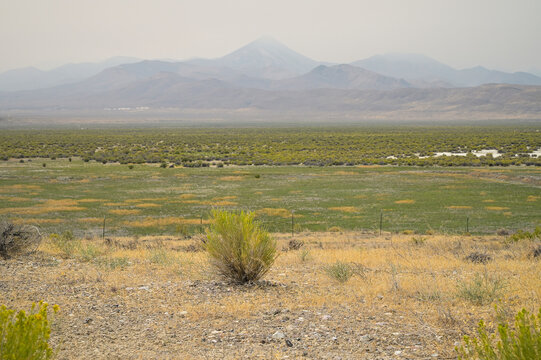 Wildfire Smoke Obscured Mountains in The Nevada Desert