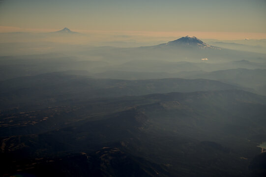 Mount Hood and Mount Adams Through Wildfire Smoke Skies