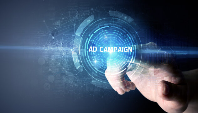 Hand touching AD CAMPAIGN button, modern business technology concept