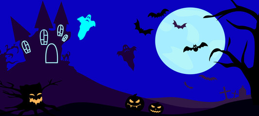 Halloween night background with moon, bats, pumpkins and ghosts in the cemetery. Vector illustration.