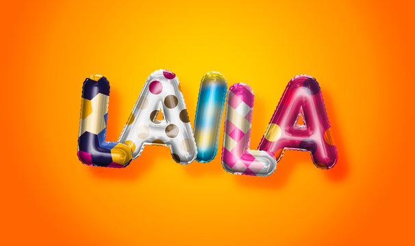 Laila female name, colorful letter balloons background