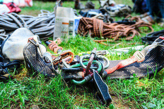 Climbing equipment lying on the grass