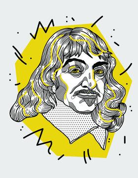 Creative geometric yellow style. Rene Descartes.