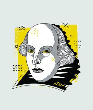 Creative geometric yellow style. William Shakespeare