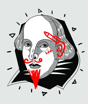 Crazy red style. William Shakespeare