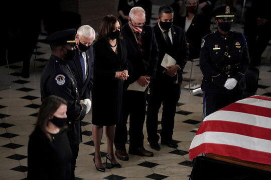 Casket of the late Supreme Court Justice Ruth Bader Ginsburg arrives at the U.S. Capitol in Washington