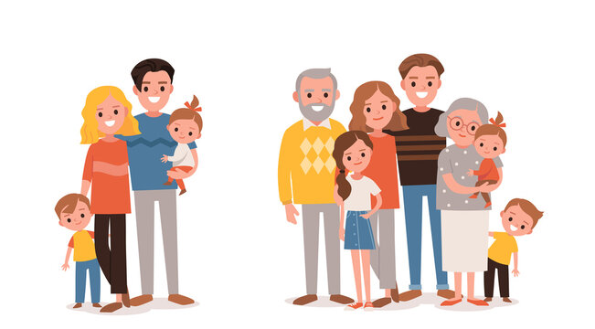 Families portraits set. Big happy multi-generational family siblings relatives portrait. Vector people. Seniors mother and father with babies, children grandchildrens and grandparents. Grandma grandpa