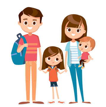 Portrait of happy family of 4 four members parents mom dad parents and 2 two children kids son daughter posing standing together, mother with child on hands.