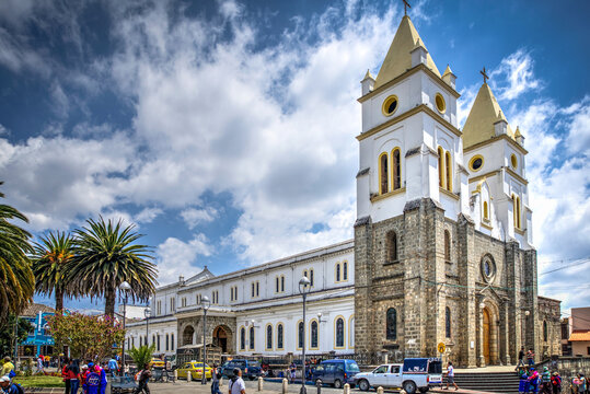 Guaranda, Bolivar province, Ecuador - November 2013: Guaranda's Cathedral during a sunny and cloudy morning. Located in the town's center plaza.