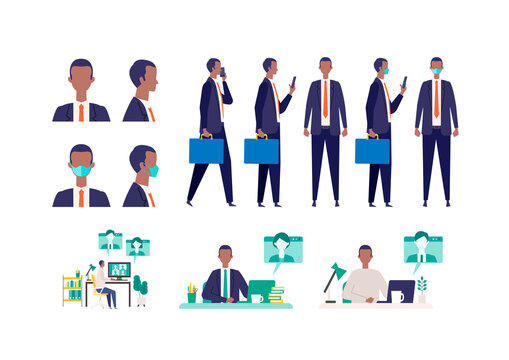 Set of masked businessman in different poses. Concept for teleworking.