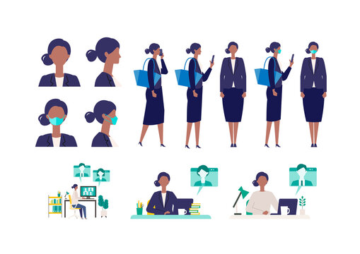 Set of masked businesswoman in different poses. Concept for teleworking.