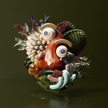 Abstract face made of plants and plastic objects