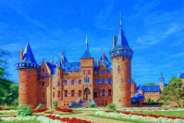 Surréalisme.Château de Haar aux Pays Bas. Province de Utrecht