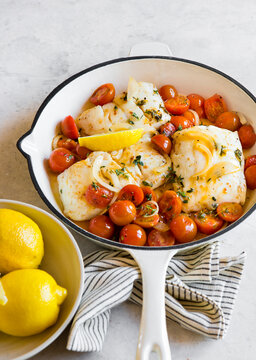 Pan Roasted Fish Fillets with burst tomatoes