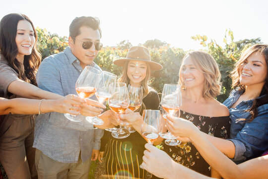 Cheers with Wine and Diverse Friends