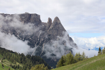 Schlern Mountains on Seiser Alm. South Tyrol. Italy