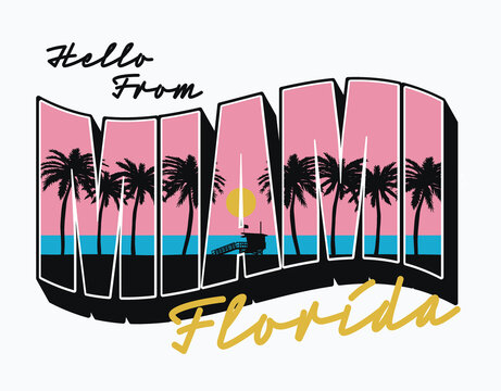 Vector Miami Slogan Summer Sunset Artwork for Apparel and Other Uses