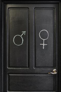 Public restroom door