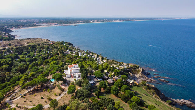 Aerial view of the coast south of Argeles Beach along the Mediterranean Sea in the south of France - Rocky beach in the Eastern Pyrenees