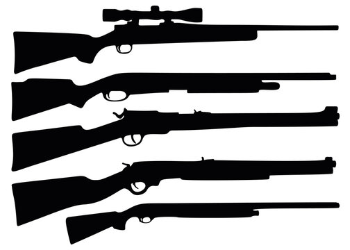 Hunting rifle and shotgun in the kit.