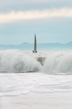 Sailboat with surf.