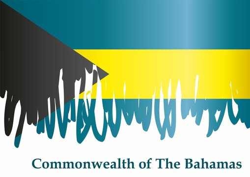 Flag of the Bahamas, Commonwealth of The Bahamas. Bright, colorful vector illustration.
