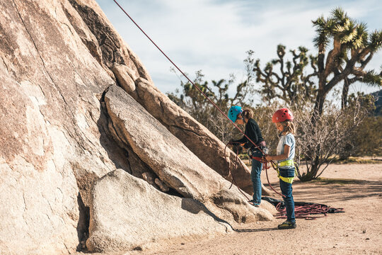 girls getting ready for a climb