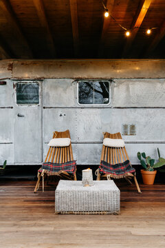Front view of a retro travel trailer