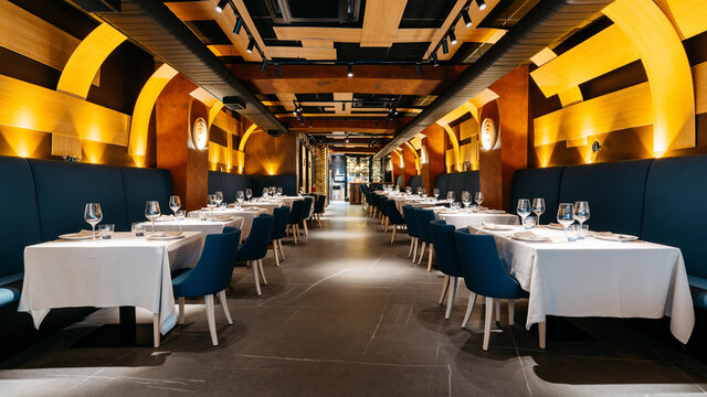 Empty modern fine dining restaurant