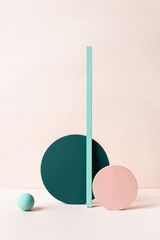 Still life with geometric shapes in balance