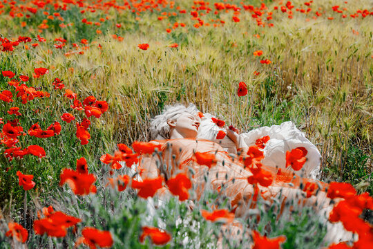 Girl in red dress laying in bed at the poppy field dreaming