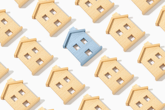 Pattern of Wooden house model on white background. Real estate concept background