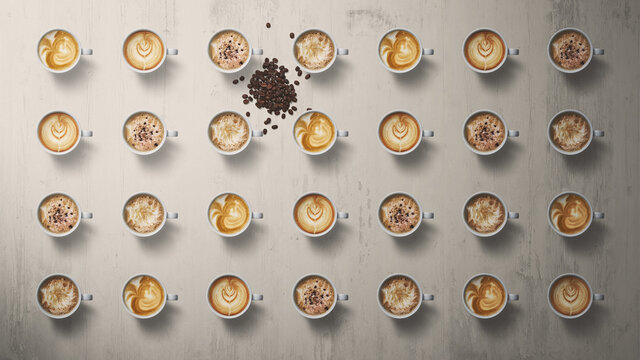 A pattern of 28 coffee cups, with a random pile of coffee beans dispersed amongst them taken from a top view perspective on a light wooden background
