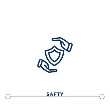 safty outline vector icon. thin line black safty icon. flat vector simple element illustration. editable vector stroke safty icon on white background
