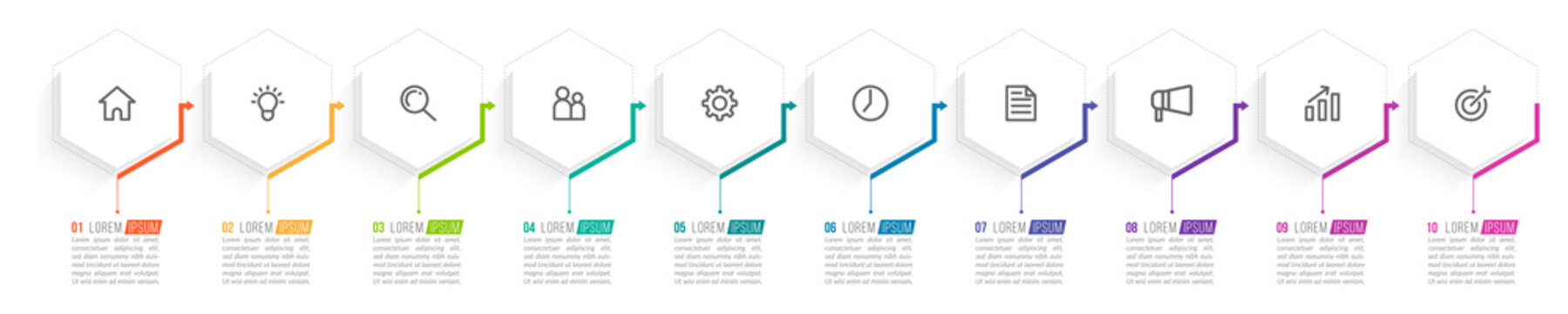 Minimal Business Infographics template. Timeline with 10 steps, options and marketing icons .Vector linear infographic with ten conected elements. Can be use for presentation.