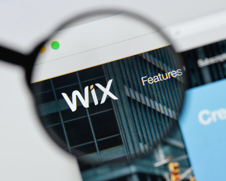Milan, Italy - August 20, 2018: Wix website homepage. Wix logo visible.