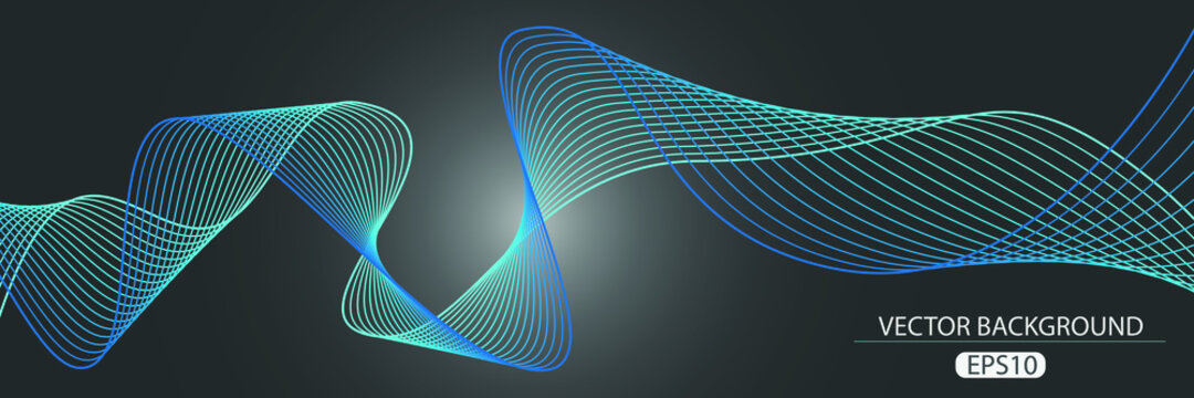 Abstract colorful wave line art. Modern background.