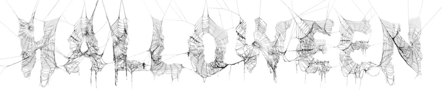 Collage of real spider webs to make highly detailed Halloween text on white