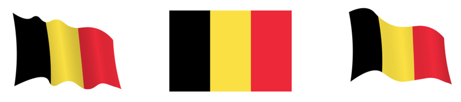Flag Belgium in static position and in motion, developing in wind in exact colors and sizes, on white background