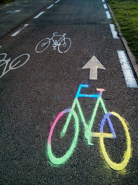 Colorful Bicycle Lane Sign