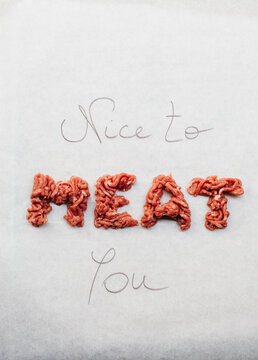 Funny nice to meat you written on white background with real meat
