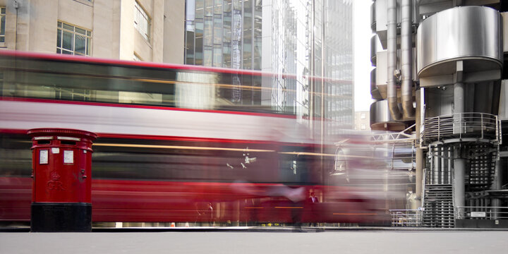 London Bus passes through the City. London. England