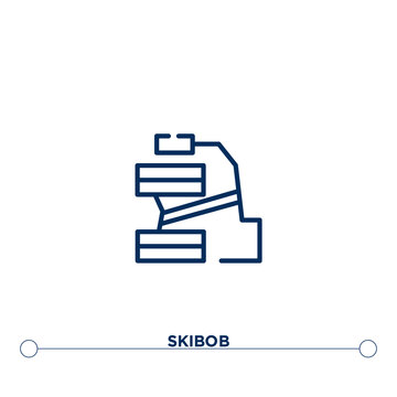 skibob outline vector icon. simple element illustration. skibob outline icon from editable sports concept. can be used for web and mobile
