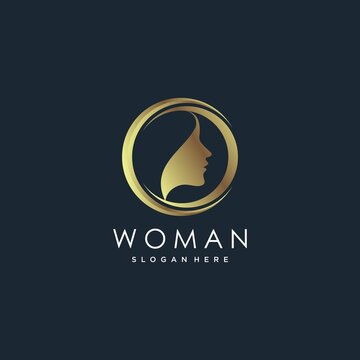 Woman logo with modern golden gradient style, beauty, luxury, Premium Vector part 4