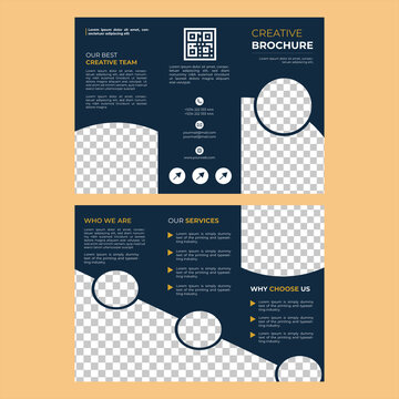 Photography Portfolio trifold 6 page vector template brochure, presentation, leaflet, magazine a4 size. Blue and white with yellow geometric elements trifold vector brochure