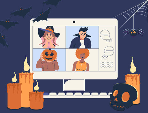 Online holiday party. People quarantined in costumes having video call celebrating Halloween at home. Vector illustration.