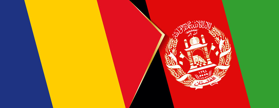 Romania and Afghanistan flags, two vector flags.