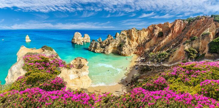 Landscape with Praia do Camilo, famous beach in Algarve, Portugal